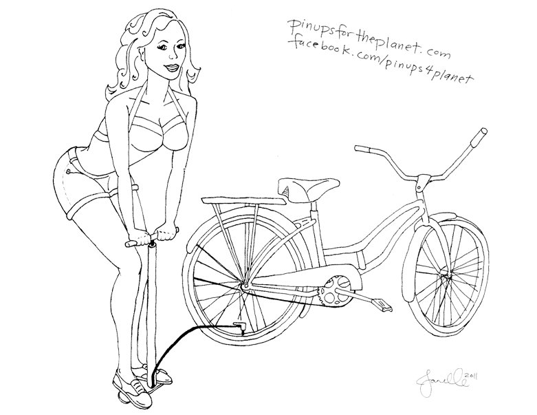 Bicycle Pin-up Girl Coloring Page